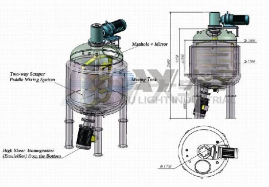 Industrial Stainless Steel Vacuum Mixing Tank Homogenizer Tank Emulsifying Tank pictures & photos