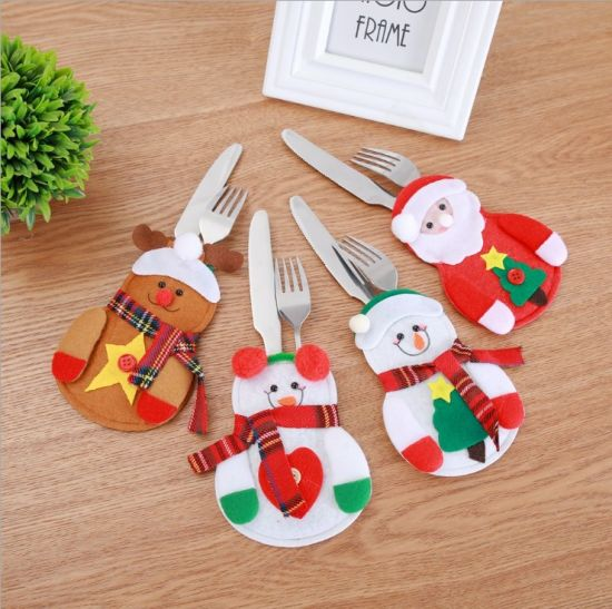 Christmas Snowman Santa Table Cutlery Decorative Cover Bag Knives and Forks Cover Set for Christmas pictures & photos