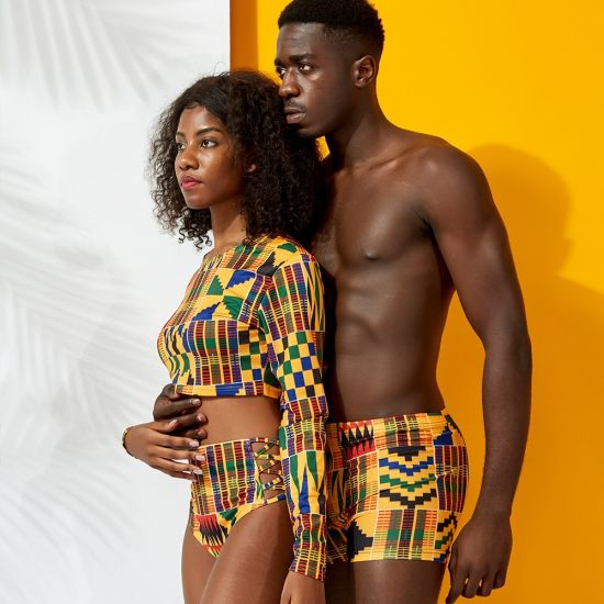Image result for african print beach shorts men""