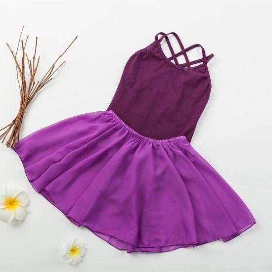Wholesale Hot Sale Cheap Kids Girls Cotton Chiffon Leotard with Skirt Set