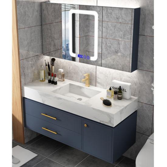 China Simple Rock Board Bathroom Cabinet Combination Nordic Smart Light Luxury Vanity Toilet Sink Washbasin Cabinet China Bathroom Vanity Bathroom Cabinet