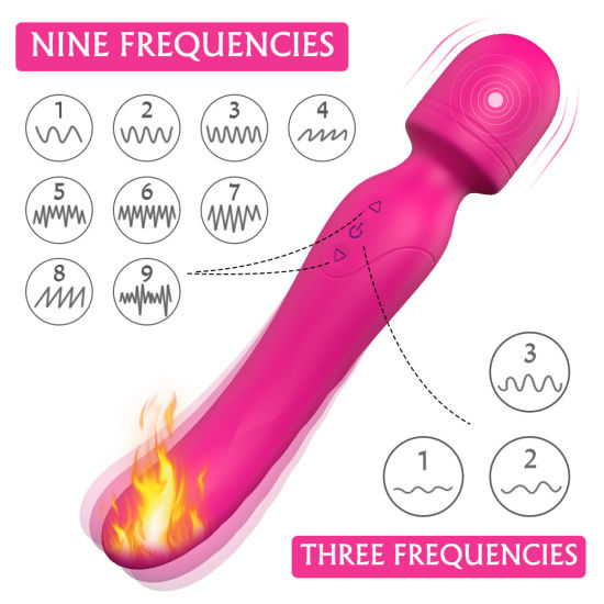 Heating Double Vibrating AV Wand Massager Vibrator Waterproof Soft Dildo G Spot Clitoris Stimulator Adult Sex Toys