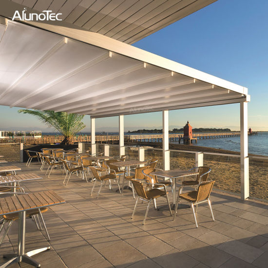 Eco Friendly Retractable Pergola Roof Waterproof Awning with Rain Sensor