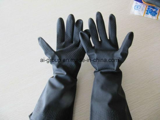 Long Working Waterproof Chemical Resistant Black Latex Rubber Industrial Gloves
