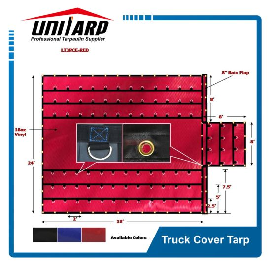 6FT Drop Reinforced Red American PVC Truck Cover Tarpaulin