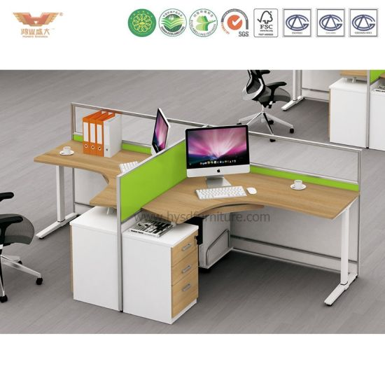 Business Furniture Easy Office 2 Person L Shaped Desk Open Office  Workstation With 3 Dwr Mobile Peds