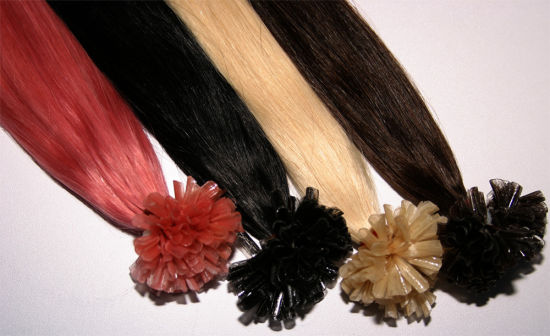 Wholesale Nail Hair Extensions Keratin Tip Human Hair (AV-HE035) pictures & photos
