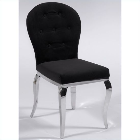 Modern Dining Room Side Fabric Chair With Stainless Steel Chrome Legs