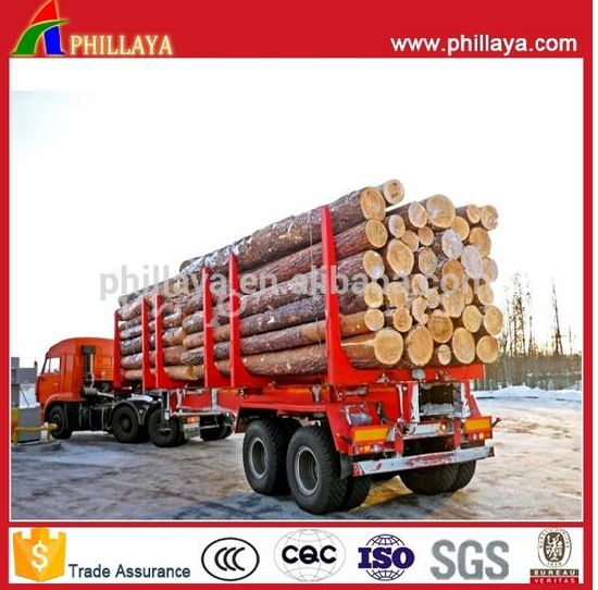 Tri-Axle 20-40FT Wood Logging Post Flatbed Log Semi Trailer pictures & photos