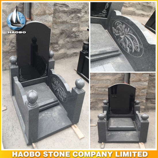 Chinese Style Black Granite Tombstones on Sale pictures & photos