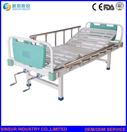 Aluminum-Alloy Guardrail Double-Crank Manual Medical Instrument Hospital Beds pictures & photos