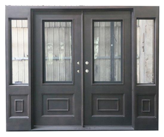China Luxury Design Custom Beautiful Square Iron Entry Doors With
