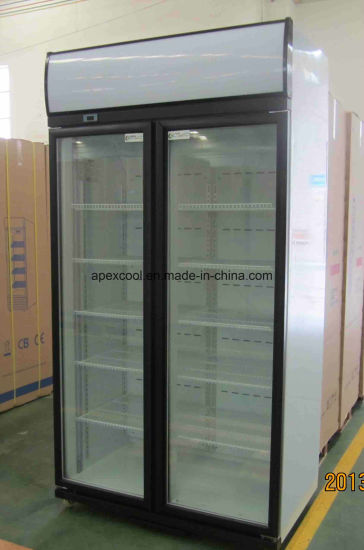 China New Style Double Glass Doors Beverage Refrigerator With