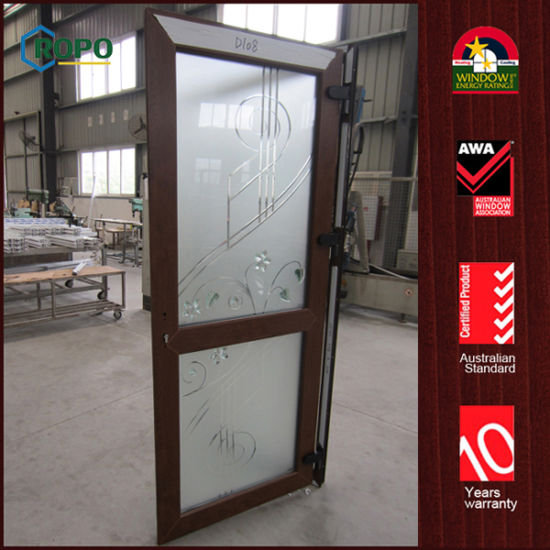 China Woodgrain Color Upvc Residential Entry Doors With Frosted