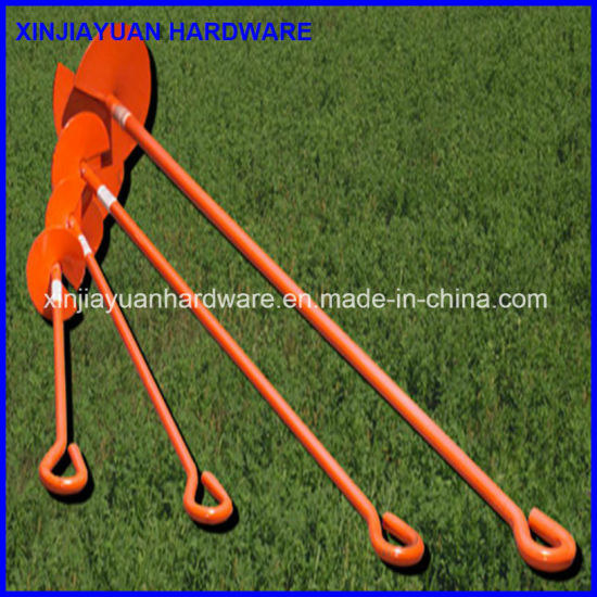 3/4''x48'' Power Coated Ground Screw Anchor with Helix and Welded Eye