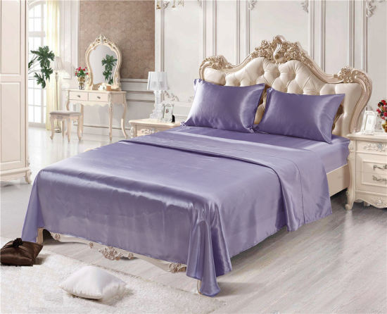 SATIN SHEETS FULL Size Soft Silk Feel Bedding 4pc Set Luxury Bed Linen PURPLE