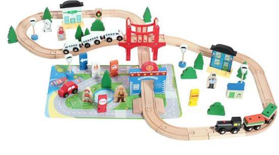 Wooden Multifunction 80PCS Railway Train Toy Set for Kids and Children