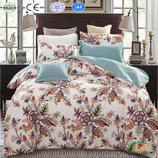 China Classic Bedding Set King Queen Size Grey Blue Flower Bed Linen