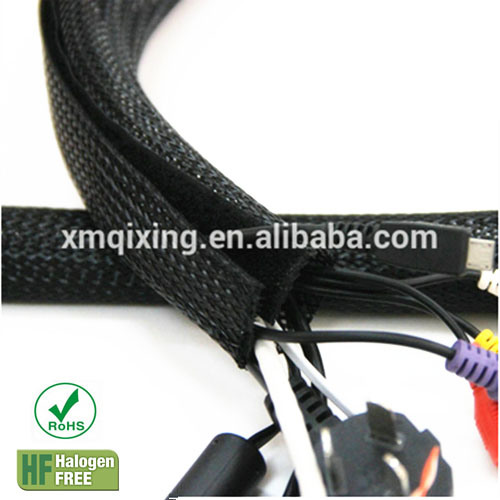 re open wire harness sleeve with hook loop for management