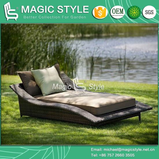 Rattan Wicker Sunlounger Wicker Daybed Double Daybed Outdoor Furniture  Patio Furniture Chaise Lounge Garden Lounger Hotel Project (Magic Style)