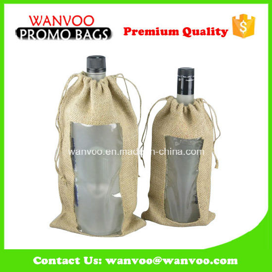 Reusable Simple Wine Bag Drawstring Pouch with PVC Window pictures & photos