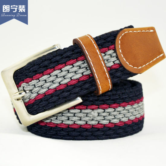 D16 Colorful Pin Buckle Cotton Fabric Webbing Weaving Belt