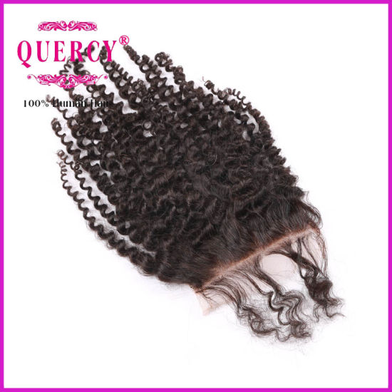 "Factory Wholesale 100% Human Hair Virgin Brazilian Kinky Curl 3.5*4"" Lace Closure pictures & photos"