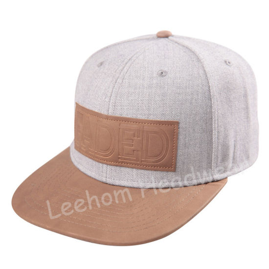 Heater Wool Blend Grey Melange Snapback Flat Brim Fiftting Cap pictures & photos