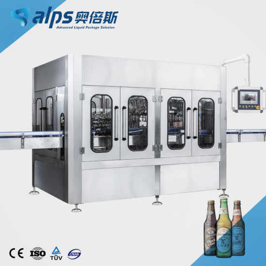 Automatic Glass Bottle Aluminum Can Beer Filling Capping Machine Red Wine Vodka Whisky Liquor Champagne Production Line Bottling Processing System Equipment