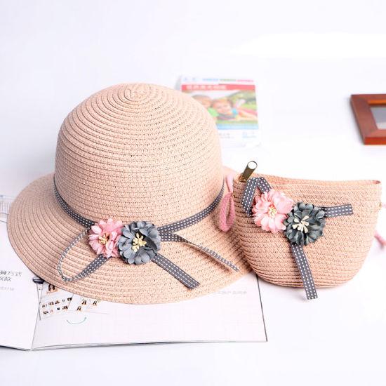 Custom Children Kids Panama Paper Straw Hat Sun Hat with Straw Bag