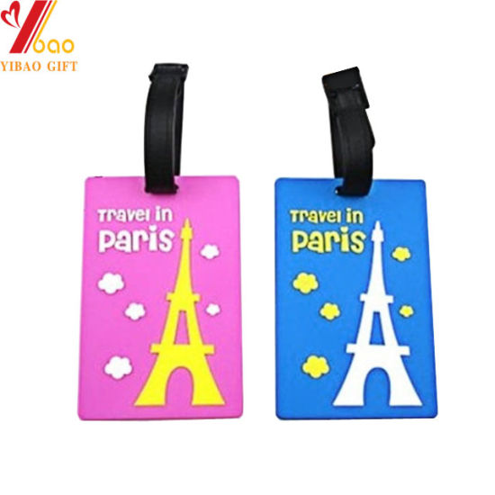 Manufacture Wholesale Standard Size Custom Personalized Logo 3D Soft PVC Promotional Airline Travel Rubber Strap Luggage Tag for Promotional Gifts (YB-LT-004)