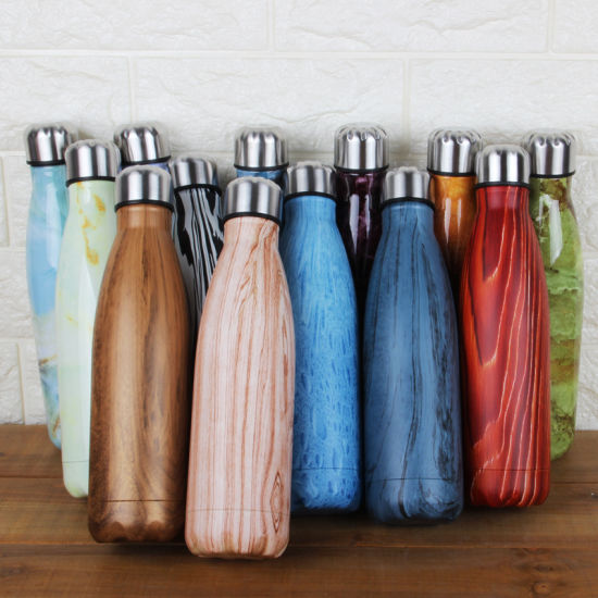 Stainless Steel Double Wall Wooden Vacuum Cola Bottle Shape Insulated