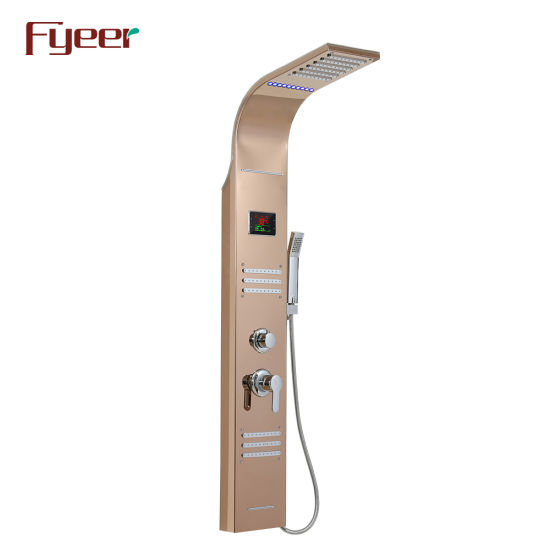 Fyeer Hydro Power LED Shower Panel with Big Temperature Display Screen