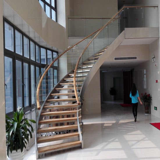 Double Stringer Glass Railing With Curved Staircase