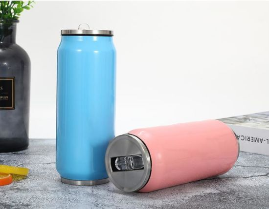 Double Wall 304 Stainless Steel Cola Can Shaped Sport Water Bottle Vacuum Insulated Drinking Cup with Straw
