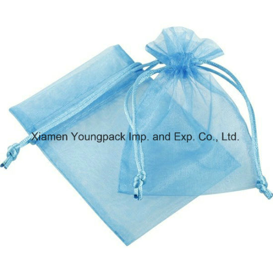 Wholesale Bulk Cheap Custom Personalized Small 3X4 Blue Organza Wedding Party Favor Bags for Candy