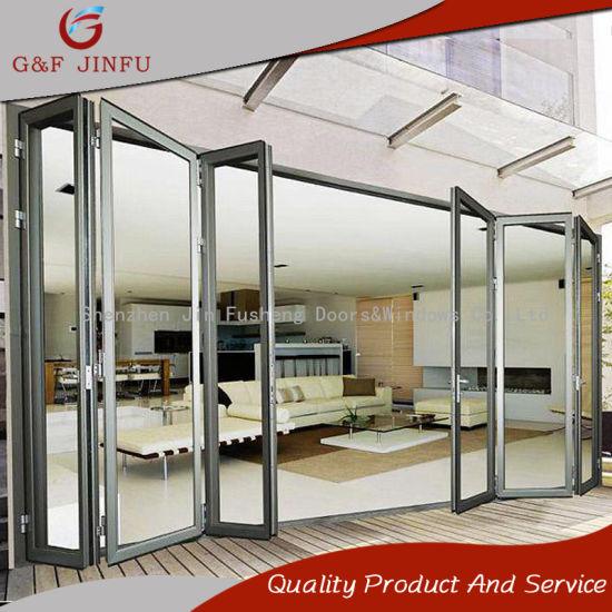 China Excellent Space Saving Aluminum Bi Folding Glass Door For