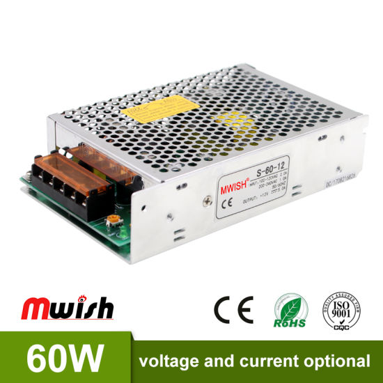 Factory Price 12V Regulated 60W DC12V 5AMP SMPS Power Supply pictures & photos
