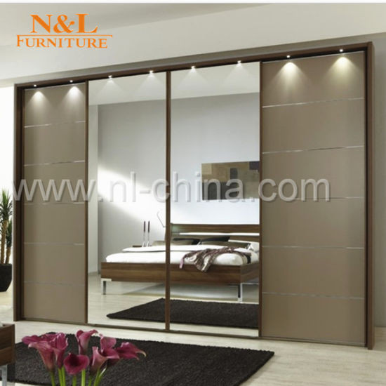 Wood Sliding Door Closet Wardrobe with White Colour PVC Door pictures & photos
