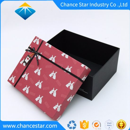 Custom Gift Packing Paper Cardboard Box with Ribbon Bow