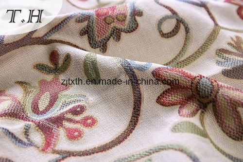 Beautifule Floral Sofa Fabric Jacquard 100% Polyester pictures & photos