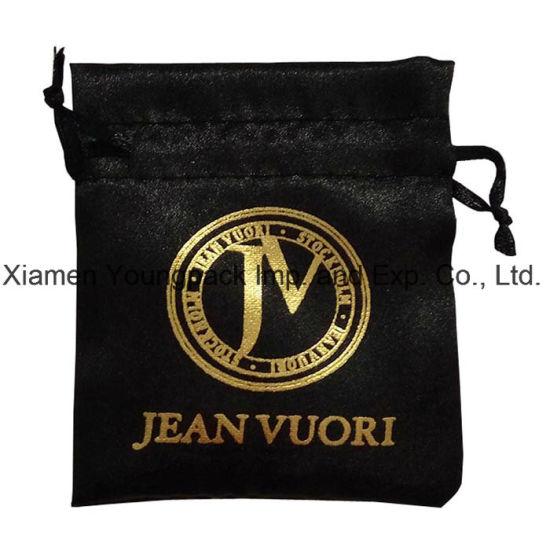 Fashion Personalized Custom Hot Stamping Printing Black Small Drawstring Satin Jewelry Bag