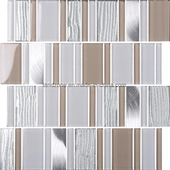 Strip Brick Gray Glass Crystal Mix Aluminum Mosaic Tile
