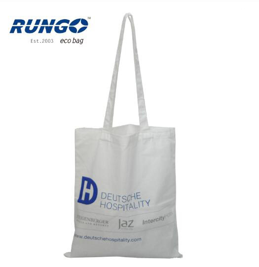 Promotional Custom Logo Printed White 5oz Recycled Organic Cotton Bags