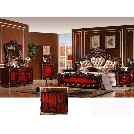 Classic Bedroom Furniture Set with Antique Bed and Wardrobe (W809) pictures & photos