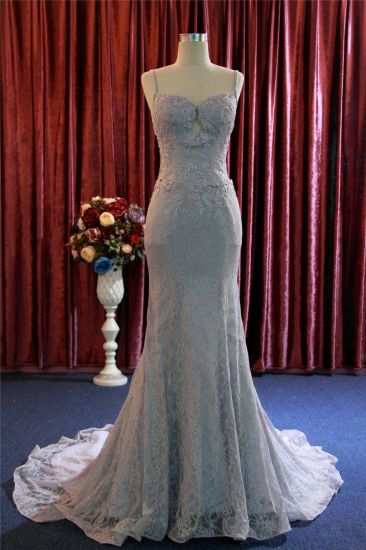 Fashion Mermaid Lace Sequins Bridal Evening Dress