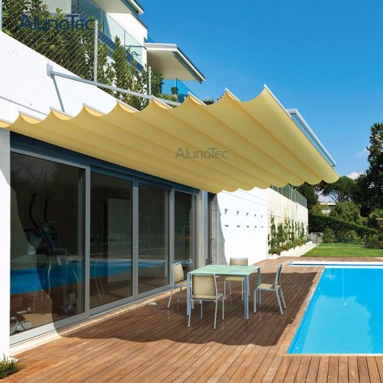 China Sunshade Cover Waterproof Fabric Awning Pergola with Remote