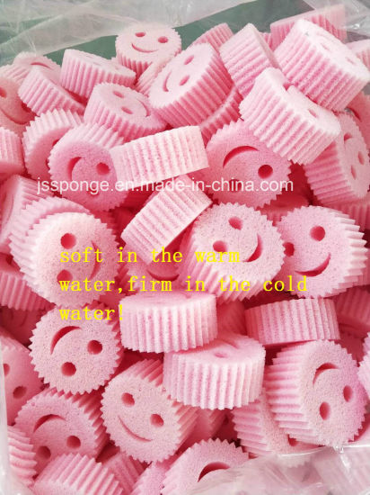 Polyester Smile Face Shape Kitchen Cleaning Dish Sponge