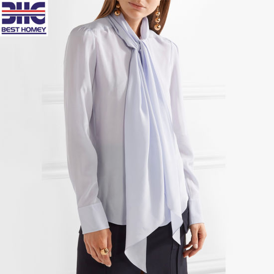 a8af630a4d5f4 Women′s 100% Pure Silk Loose Fit Blouse with Long Pussy-Bow Neck Ties for  Women