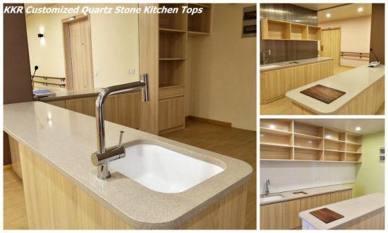 Commercial Snow White Quartz Stone Kitchen Worktop Countertop